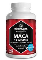 Maca Kapseln hochdosiert 4000 mg + L-Arginin 1800 mg + Vitamine + Zink